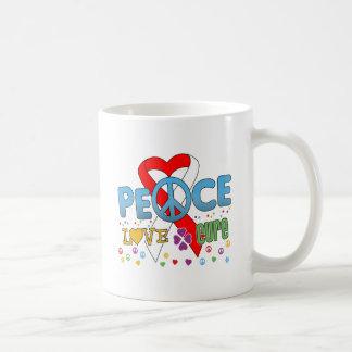 Oral Cancer Groovy Peace Love Cure Basic White Mug