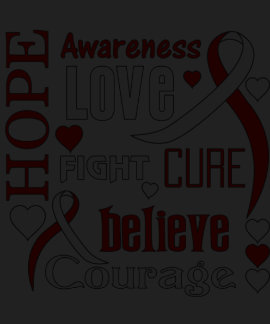 Oral Cancer Hope Words Collage T-shirts