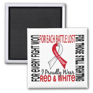 Oral Cancer I Proudly Wear Red And White 2 Refrigerator Magnet