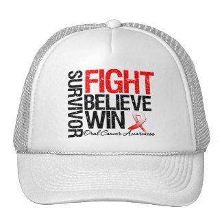 Oral Cancer Survivor Fight Believe Win Motto Trucker Hat