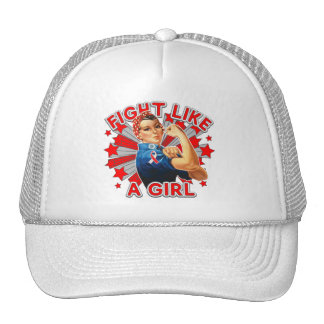 Oral Cancer Vintage Rosie Fight Like A Girl Trucker Hat