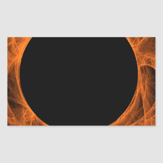 Orang & Black Fractal Background Rectangle Sticker
