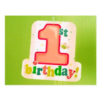 Orange 1st Birthday Tag on Green Door Postcard