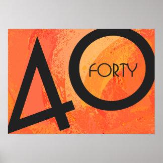 Orange 40 Decade Birthdday Poster