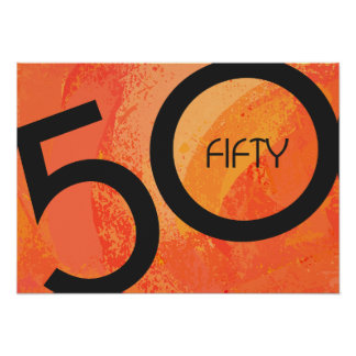 Orange 50 Decade Birthday Poster