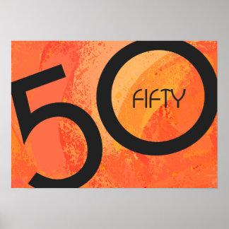 Orange 50 Decade Birthdday Poster