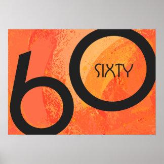 Orange 60 Decade Birthdday Poster