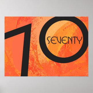 Orange 70 Decade Birthdday Poster
