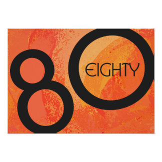Orange 80 Decade Birthday Poster