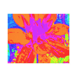 ORANGE ABSTRACT DAHLIA FLORAL FLOWER STRETCHED CANVAS PRINTS