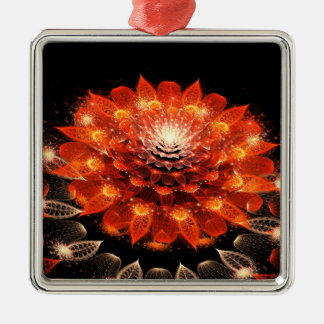orange abstract flower christmas ornament