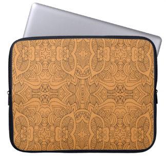 Orange  Abstract Line Art Laptop Sleeve