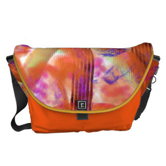 Orange Abstract Messenger Bag #1