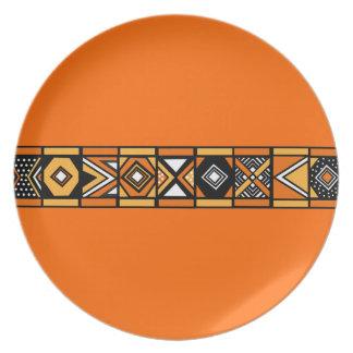 Orange African Art Pattern plate