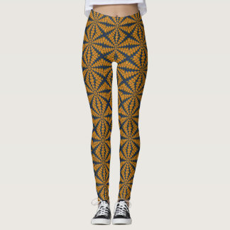 Orange African Daisy Leggings