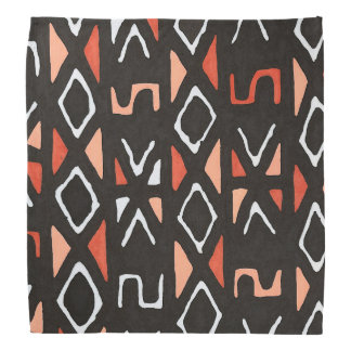 Orange African Mudcloth Tribal Print Bandana
