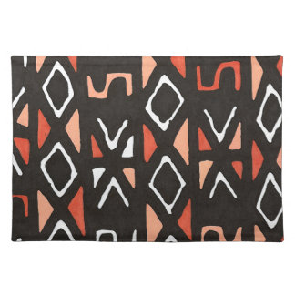 Orange African Mudcloth Tribal Print Placemat