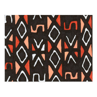 Orange African Mudcloth Tribal Print Postcard