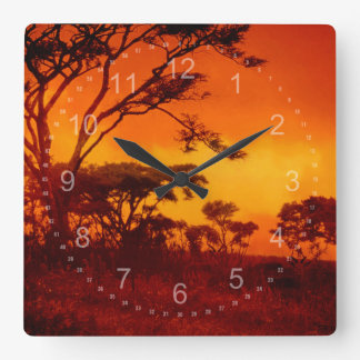 Orange African Sunset Square Wall Clock