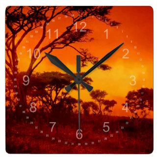 Orange African Sunset Wallclock