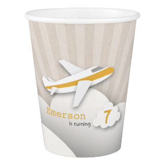 Orange Airplane Birthday Party Cups