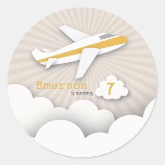 Orange Airplane Birthday Party Sticker
