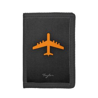 Orange Airplane Tri-fold Wallets