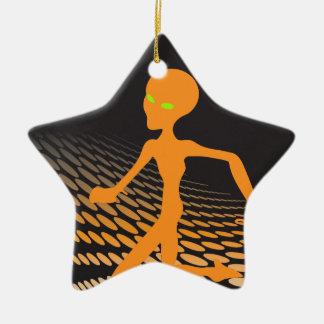 Orange Alien Running in Space Ceramic Star Decoration