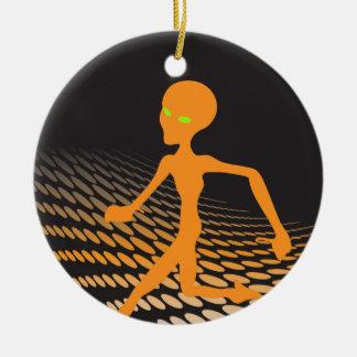 Orange Alien Running in Space Round Ceramic Decoration