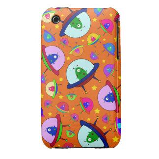 Orange alien spaceship pattern iPhone 3 Case-Mate cases