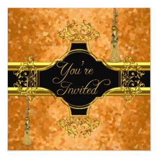 Orange All Occasions Party Elegant Gold 5.25x5.25 Square Paper Invitation Card