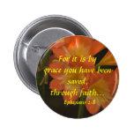 Orange Amaryllis Pinback Buttons