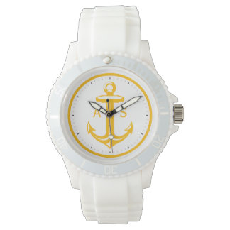 Orange Anchor with Initials | Nautical Gifts Watch