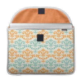 Orange and Aqua Custom Damask Pattern Sleeve For MacBooks