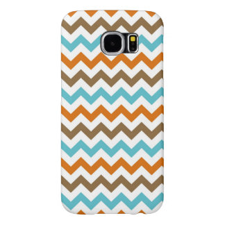 Orange and Aqua Zig Zag Chevrons Pattern Samsung Galaxy S6 Cases