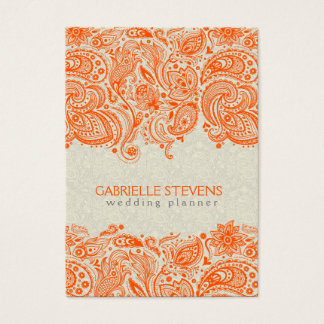 Orange And Beige Floral Paisley Lace