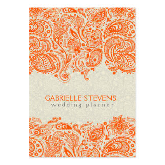 Orange And Beige Floral Paisley Lace Business Cards