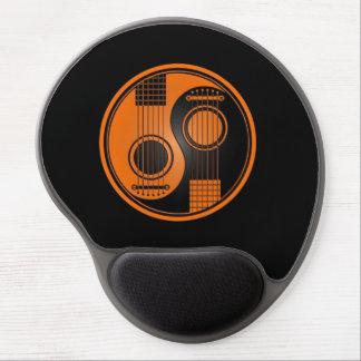 Orange and Black Acoustic Guitars Yin Yang Gel Mouse Pad