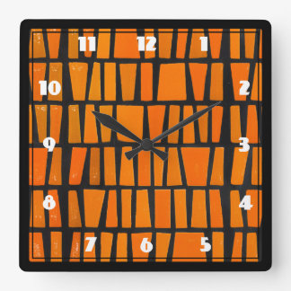 Orange and black african tribal pattern clocks