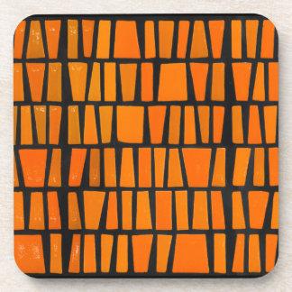 Orange and black african tribal pattern coaster