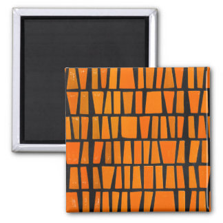 Orange and black african tribal pattern magnets