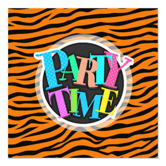 Orange and Black Animal Print Tiger Stripes 13 Cm X 13 Cm Square Invitation Card