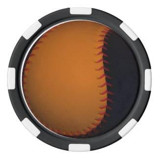 Orange and Black Baseball / Softball Poker Chips