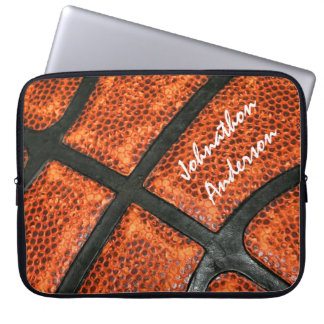 Orange and Black Basketball Pattern With Autograph Laptop Sleeve