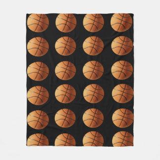 Orange And Black Basketballs Pattern, Medium Fleece Blanket