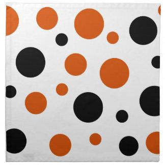 Orange and Black Big Polka Dots Napkin