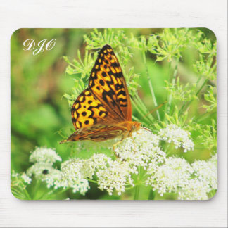 Orange and Black Butterfly on White Flower Mouse Pads