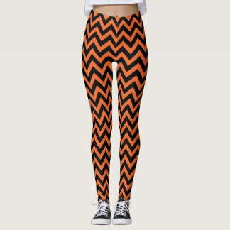 Orange and Black Chevrons Striped Halloween Leggings