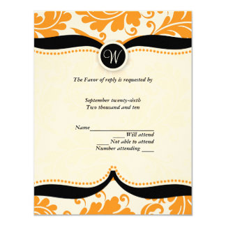 Orange and black  damask Paisley Wedding RSVP Card
