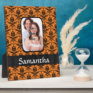 Orange and black damask plaque